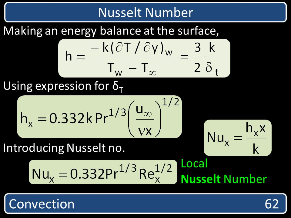 Nusselt Number Convection 62 Making an energy balance at the surface,