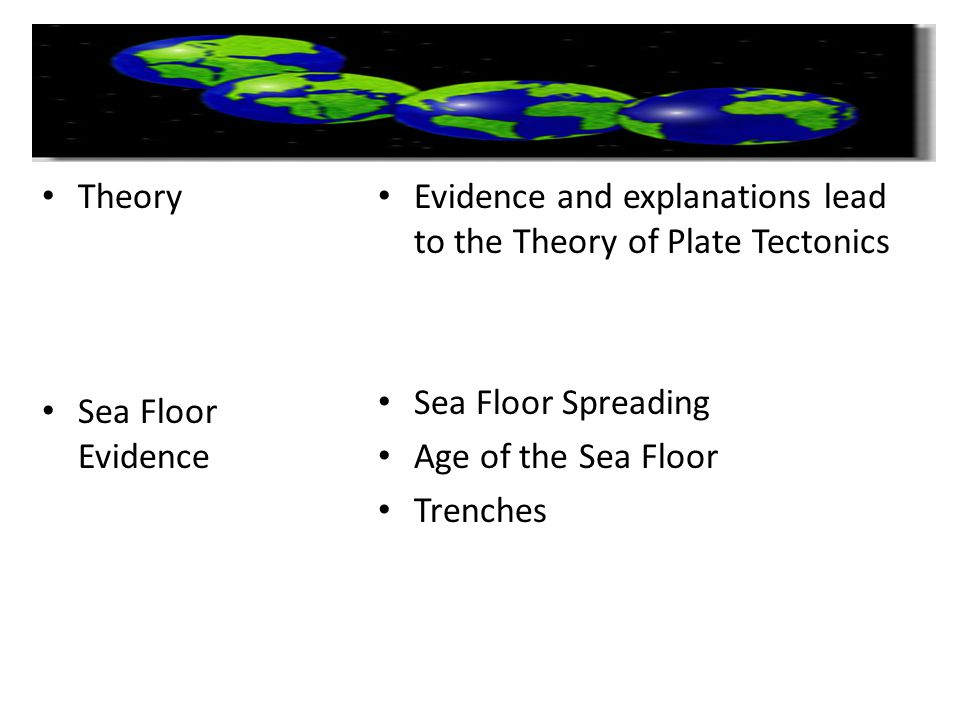 Theory Sea Floor Evidence. Evidence and explanations lead to the Theory of Plate Tectonics. Sea Floor Spreading.