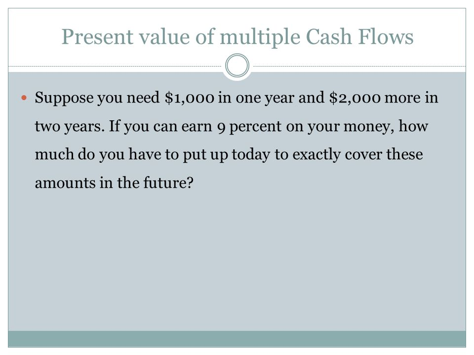 Present value of multiple Cash Flows