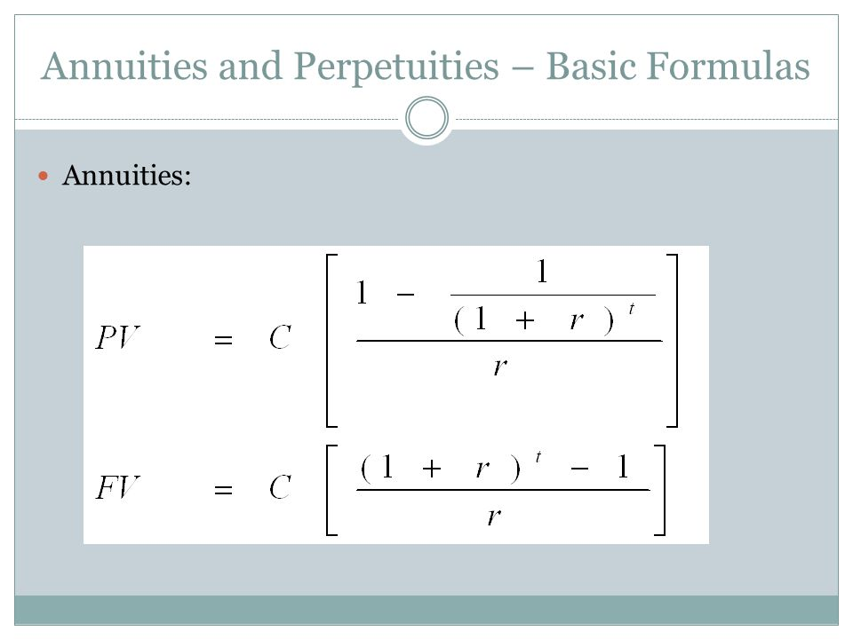 Annuities and Perpetuities – Basic Formulas