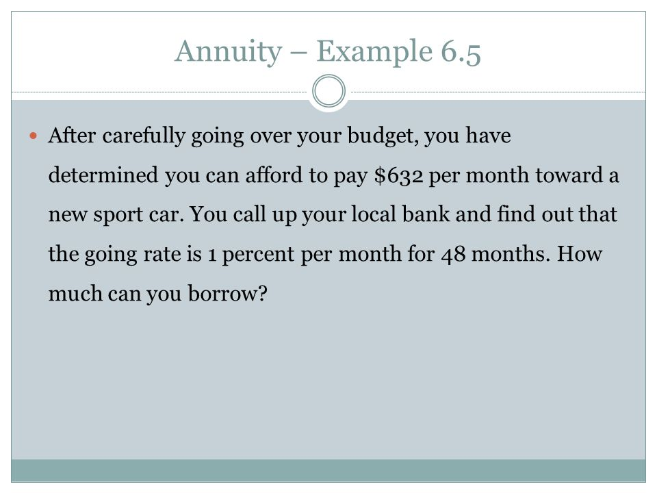 Annuity – Example 6.5