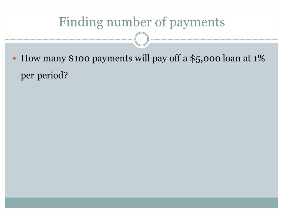 Finding number of payments