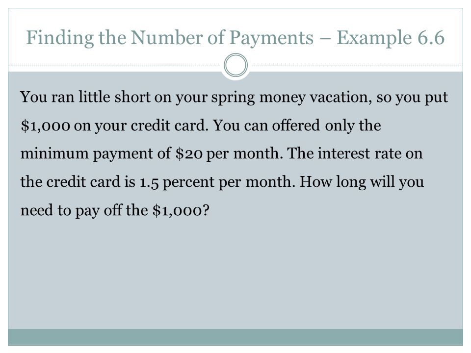 Finding the Number of Payments – Example 6.6