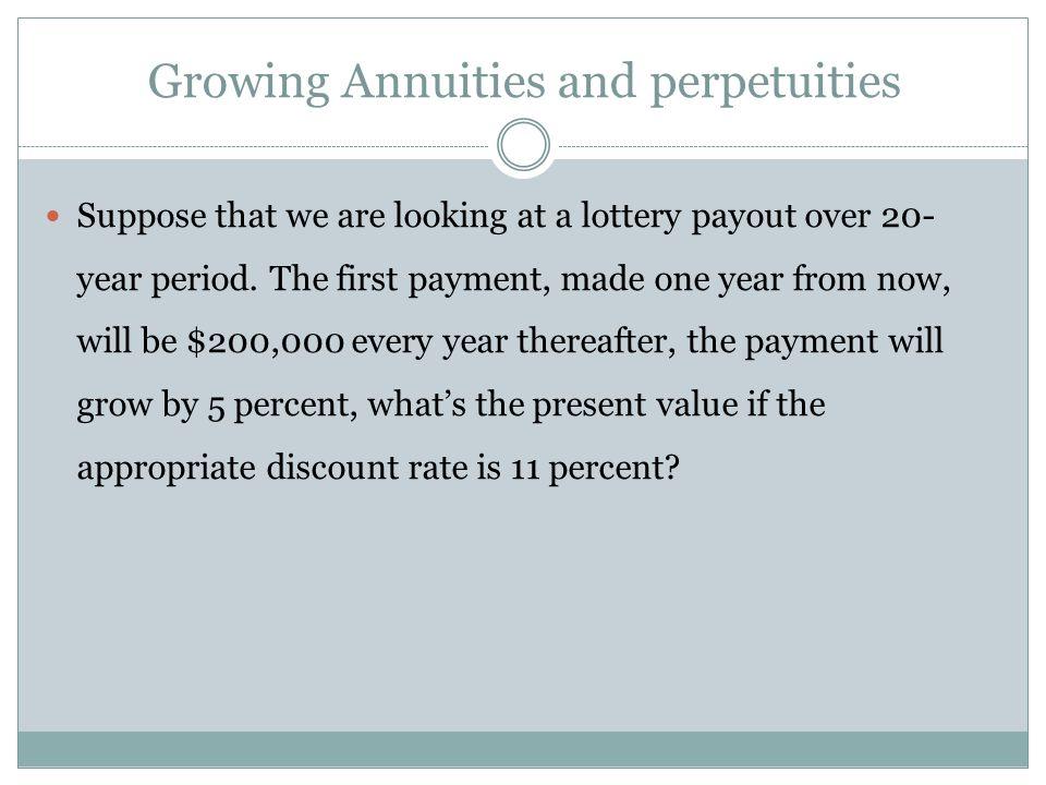 Growing Annuities and perpetuities