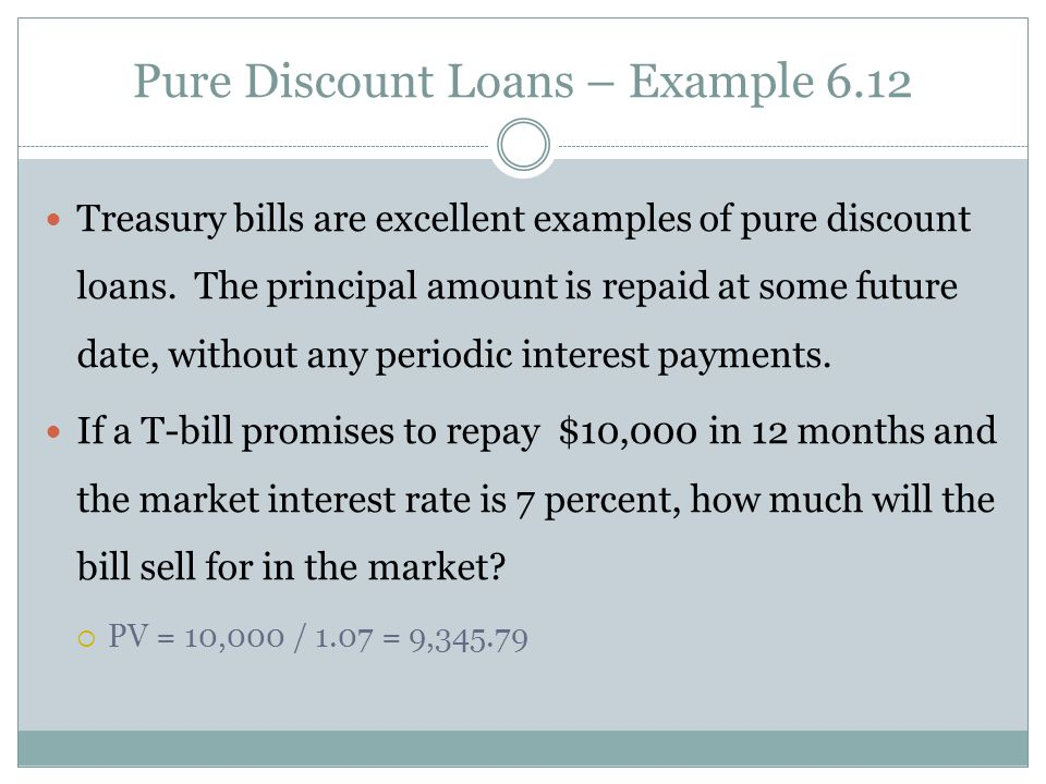 Pure Discount Loans – Example 6.12