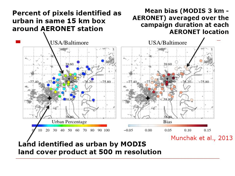 Mean bias (MODIS 3 km - AERONET) averaged over the campaign duration at each AERONET location