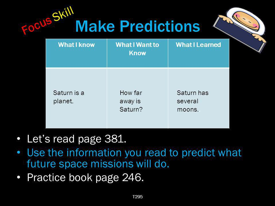 Make Predictions Focus Skill Let's read page 381.