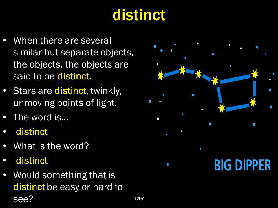 distinct When there are several similar but separate objects, the objects, the objects are said to be distinct.