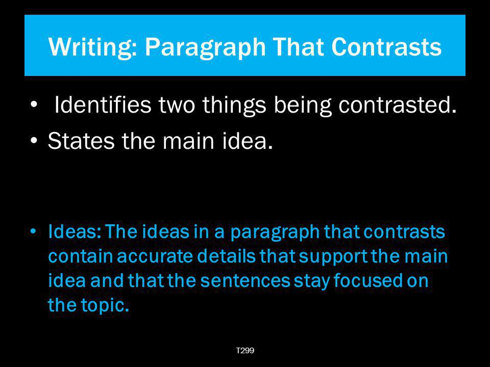 Writing: Paragraph That Contrasts