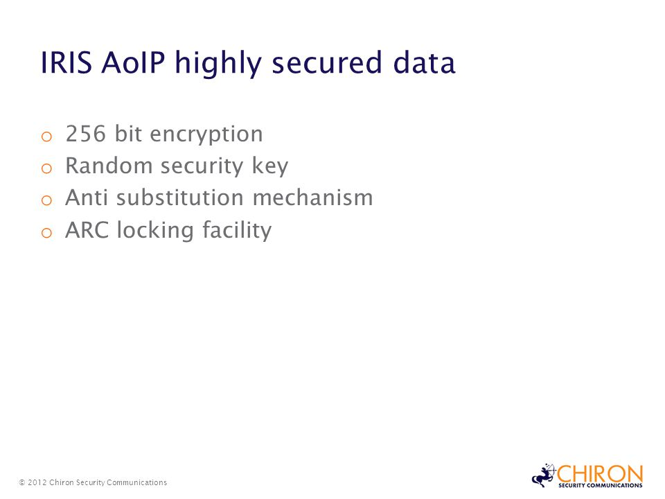 IRIS AoIP highly secured data