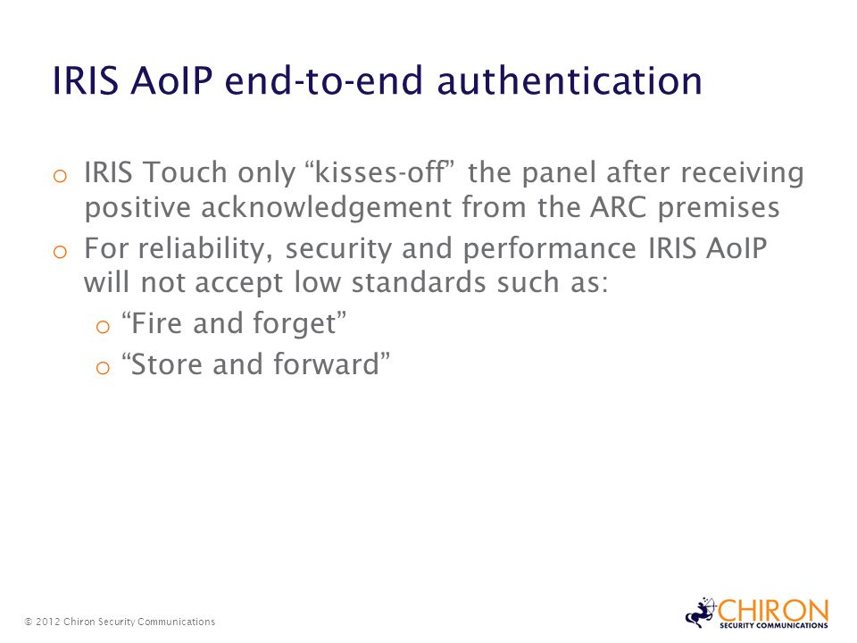 IRIS AoIP end-to-end authentication