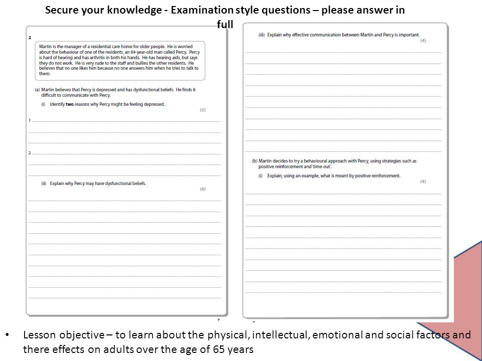 Secure your knowledge - Examination style questions – please answer in full