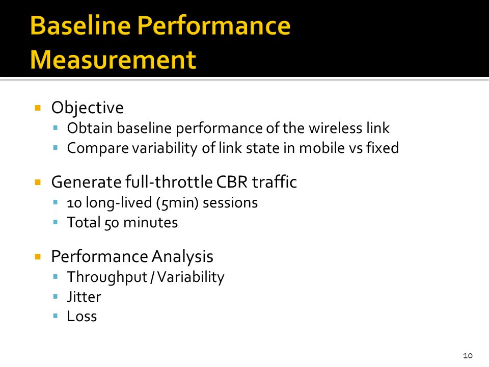 Baseline Performance Measurement