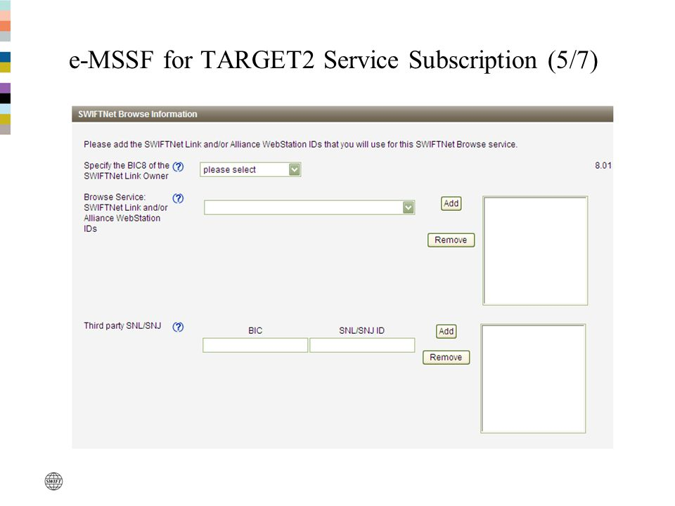 e-MSSF for TARGET2 Service Subscription (5/7)
