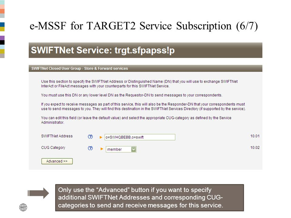 e-MSSF for TARGET2 Service Subscription (6/7)