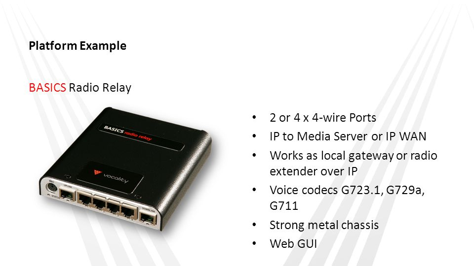 Platform Example BASICS Radio Relay. 2 or 4 x 4-wire Ports. IP to Media Server or IP WAN. Works as local gateway or radio extender over IP.