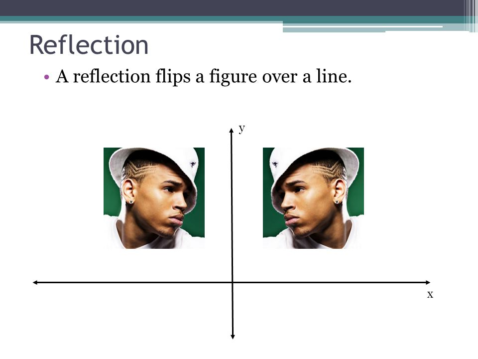 Reflection A reflection flips a figure over a line. y x