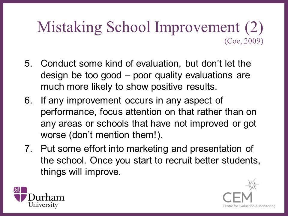 Mistaking School Improvement (2) (Coe, 2009)