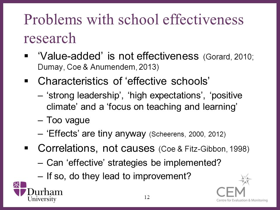 Problems with school effectiveness research
