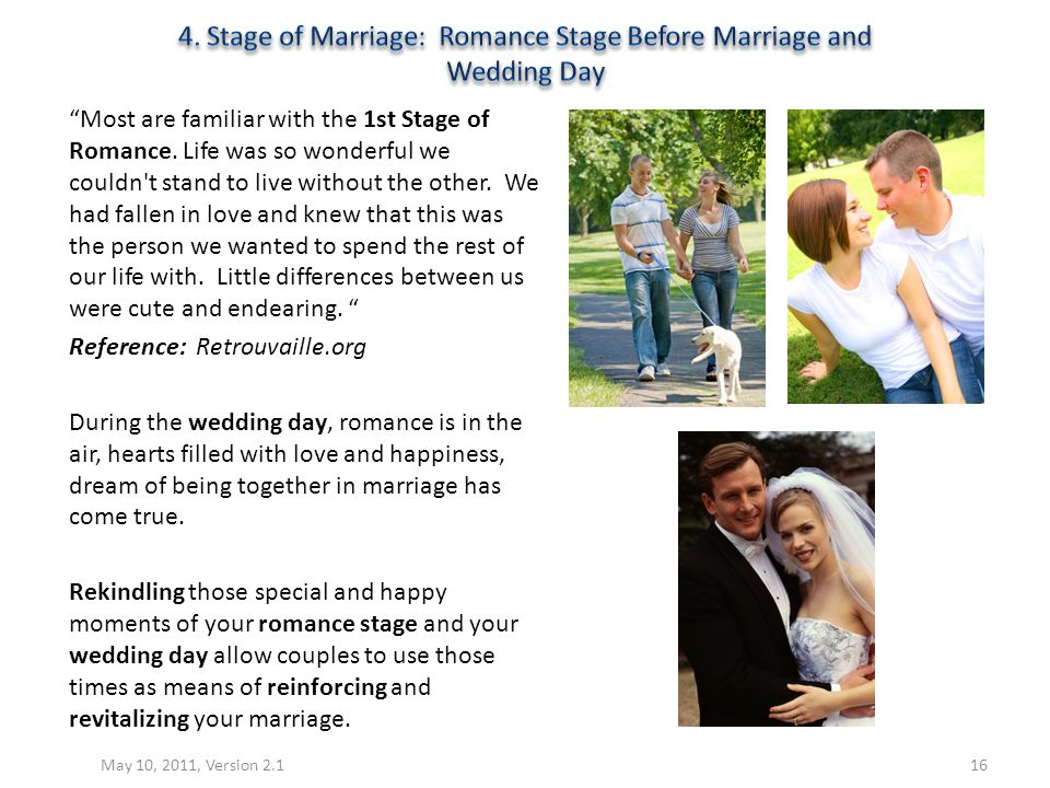 4. Stage of Marriage: Romance Stage Before Marriage and Wedding Day