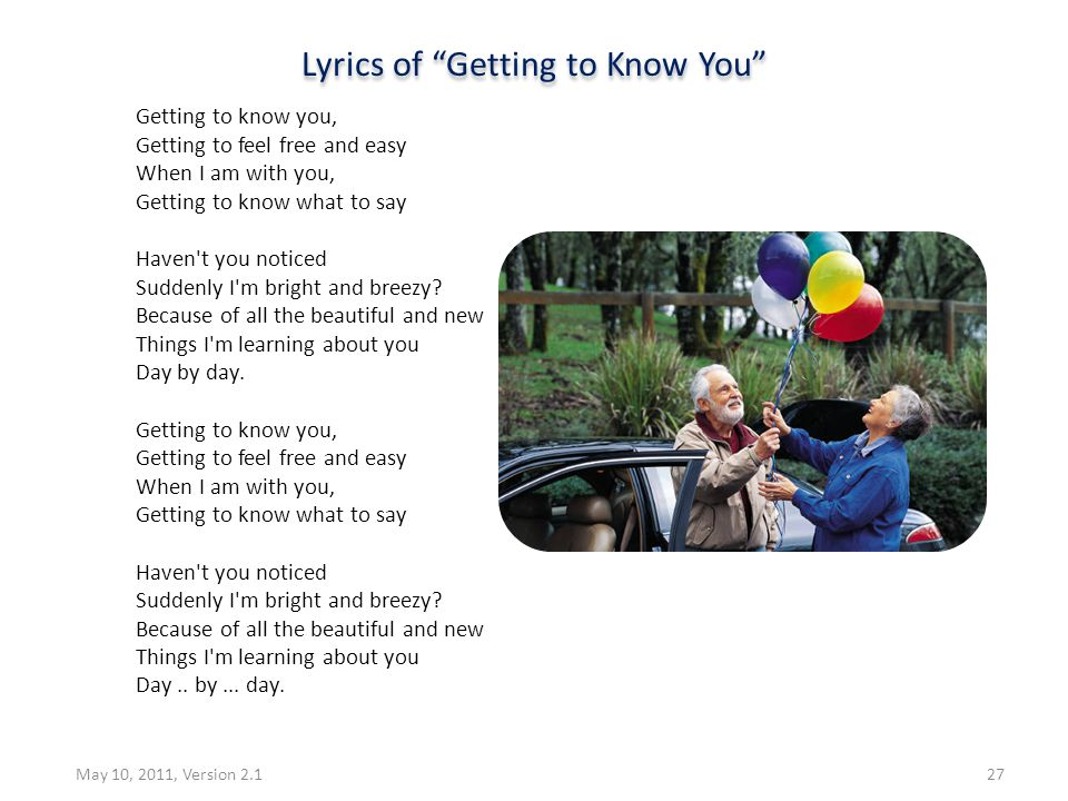 Lyrics of Getting to Know You