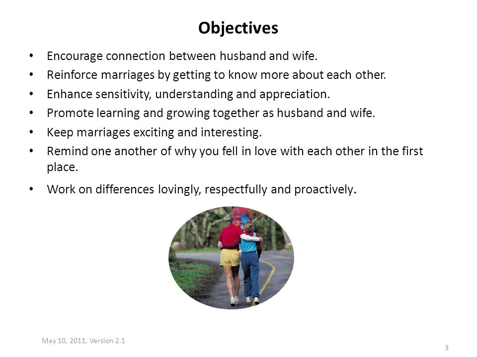 Objectives Encourage connection between husband and wife.