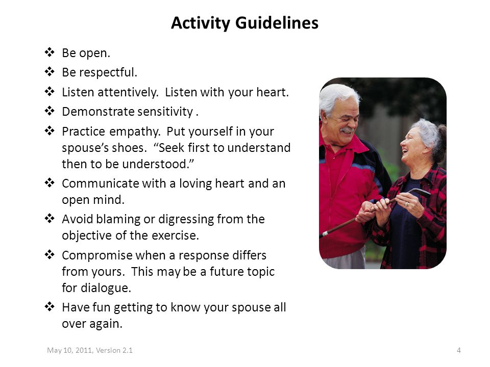 Activity Guidelines Be open. Be respectful.