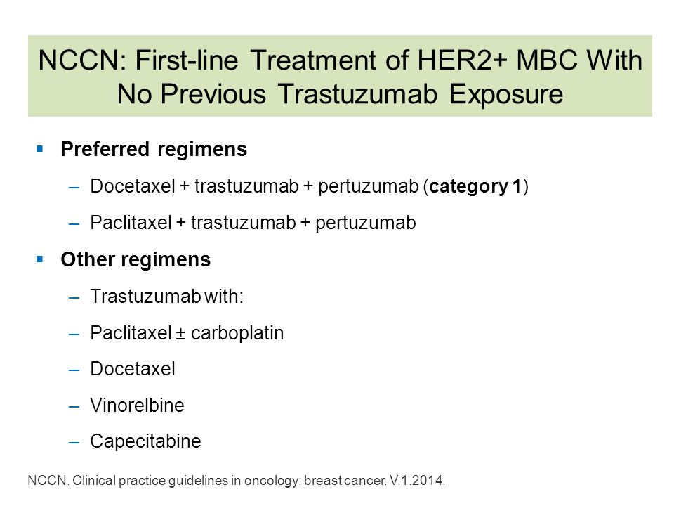NCCN: First-line Treatment of HER2+ MBC With No Previous Trastuzumab Exposure