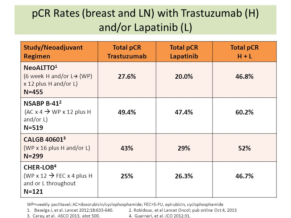 pCR Rates (breast and LN) with Trastuzumab (H) and/or Lapatinib (L)