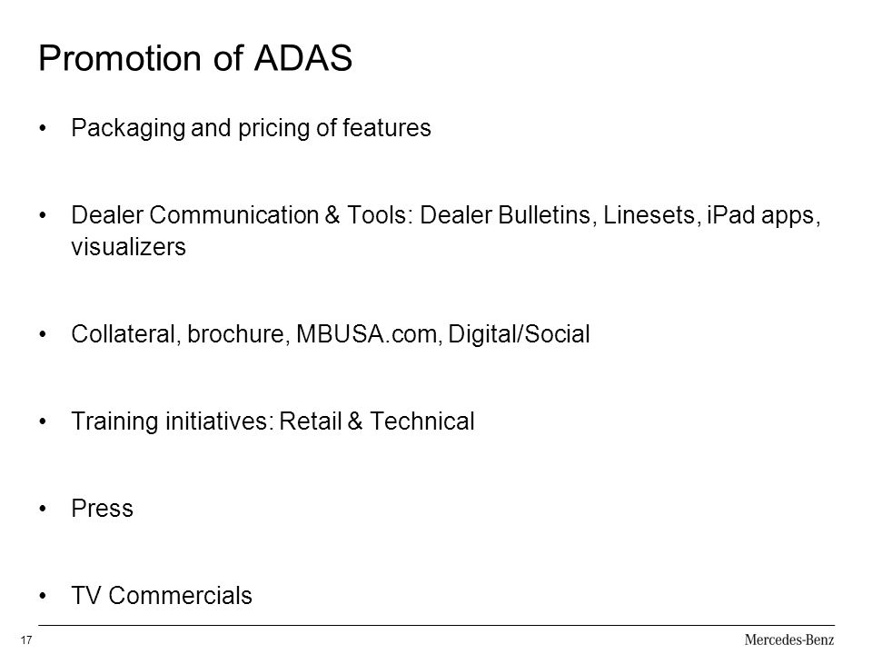 Promotion of ADAS Packaging and pricing of features