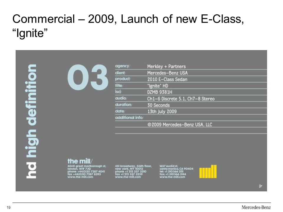 Commercial – 2009, Launch of new E-Class, Ignite
