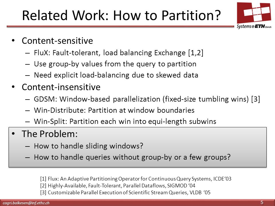 Related Work: How to Partition