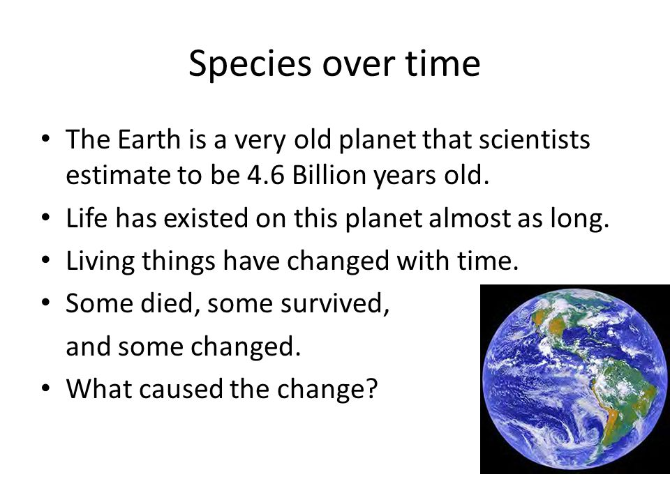 Species over time The Earth is a very old planet that scientists estimate to be 4.6 Billion years old.