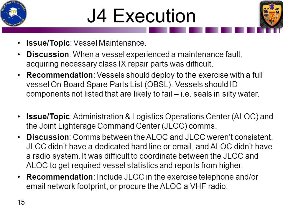 J4 Execution Issue/Topic: Vessel Maintenance.