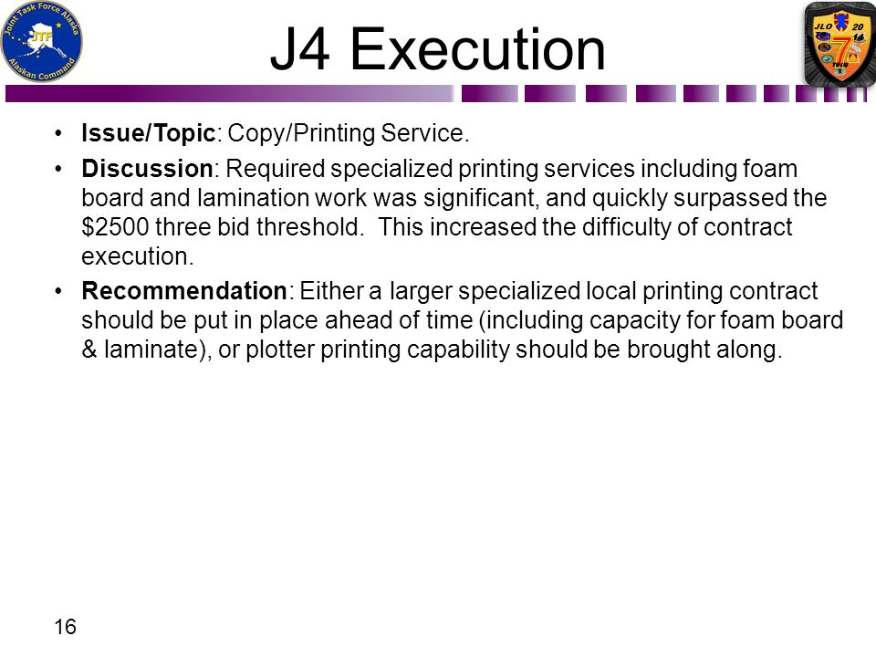 J4 Execution Issue/Topic: Copy/Printing Service.