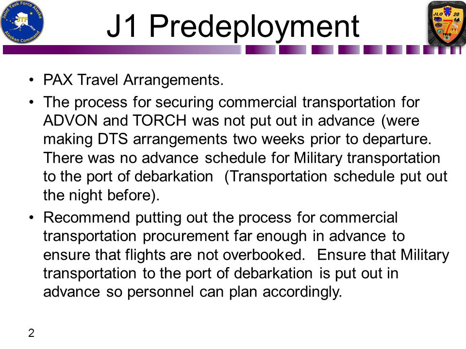 J1 Predeployment PAX Travel Arrangements.