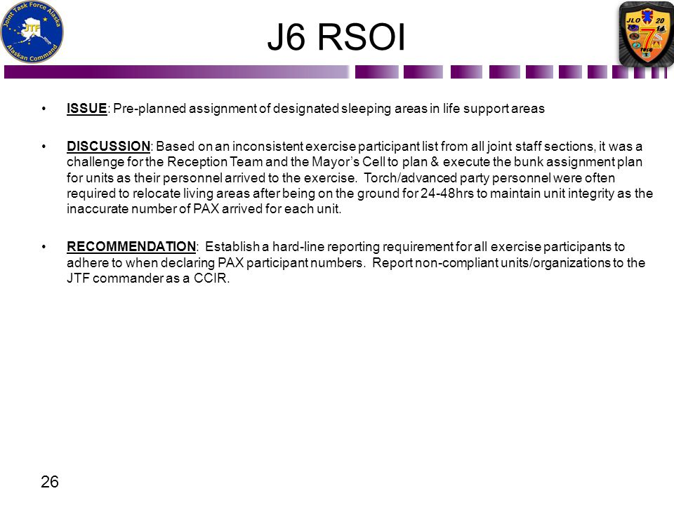 J6 RSOI ISSUE: Pre-planned assignment of designated sleeping areas in life support areas.