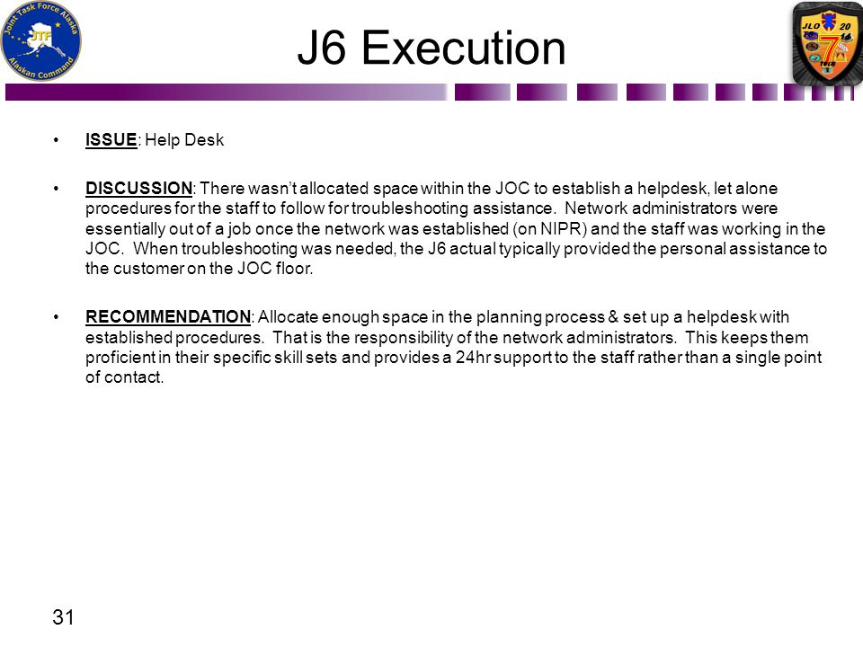 J6 Execution ISSUE: Help Desk