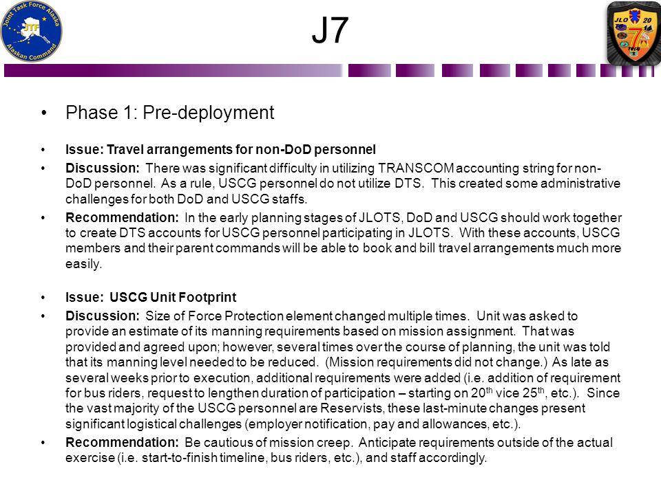 J7 Phase 1: Pre-deployment