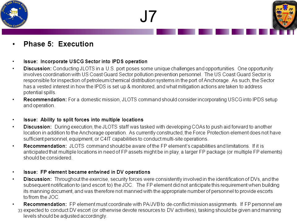 J7 Phase 5: Execution. Issue: Incorporate USCG Sector into IPDS operation.