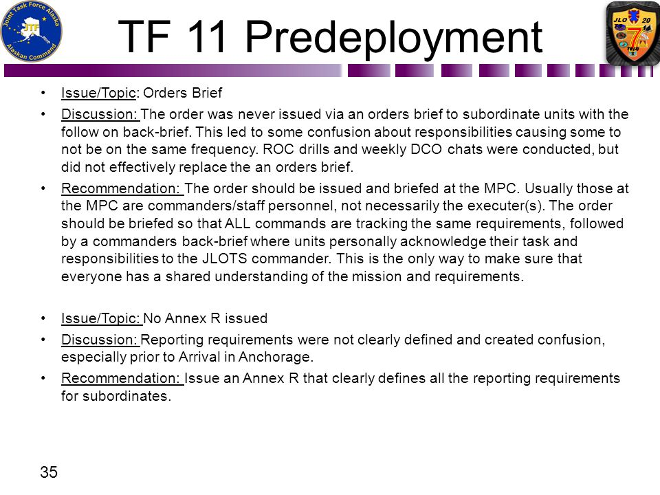 TF 11 Predeployment Issue/Topic: Orders Brief