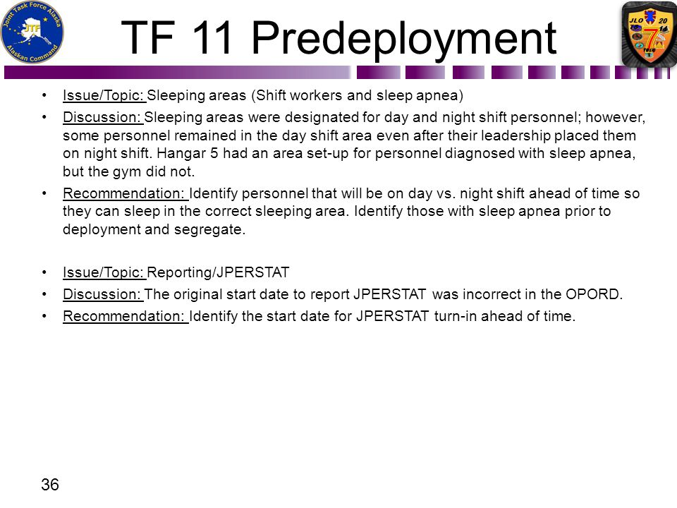 TF 11 Predeployment Issue/Topic: Sleeping areas (Shift workers and sleep apnea)