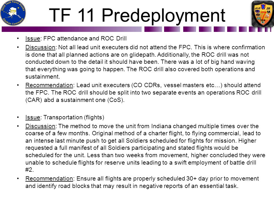 TF 11 Predeployment Issue: FPC attendance and ROC Drill