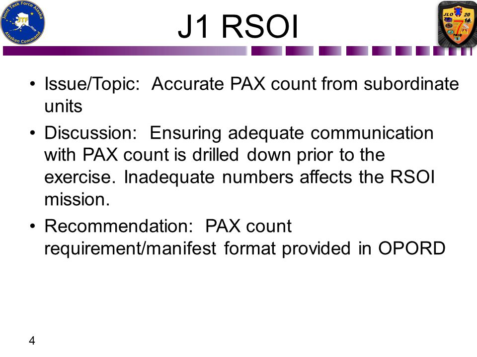J1 RSOI Issue/Topic: Accurate PAX count from subordinate units
