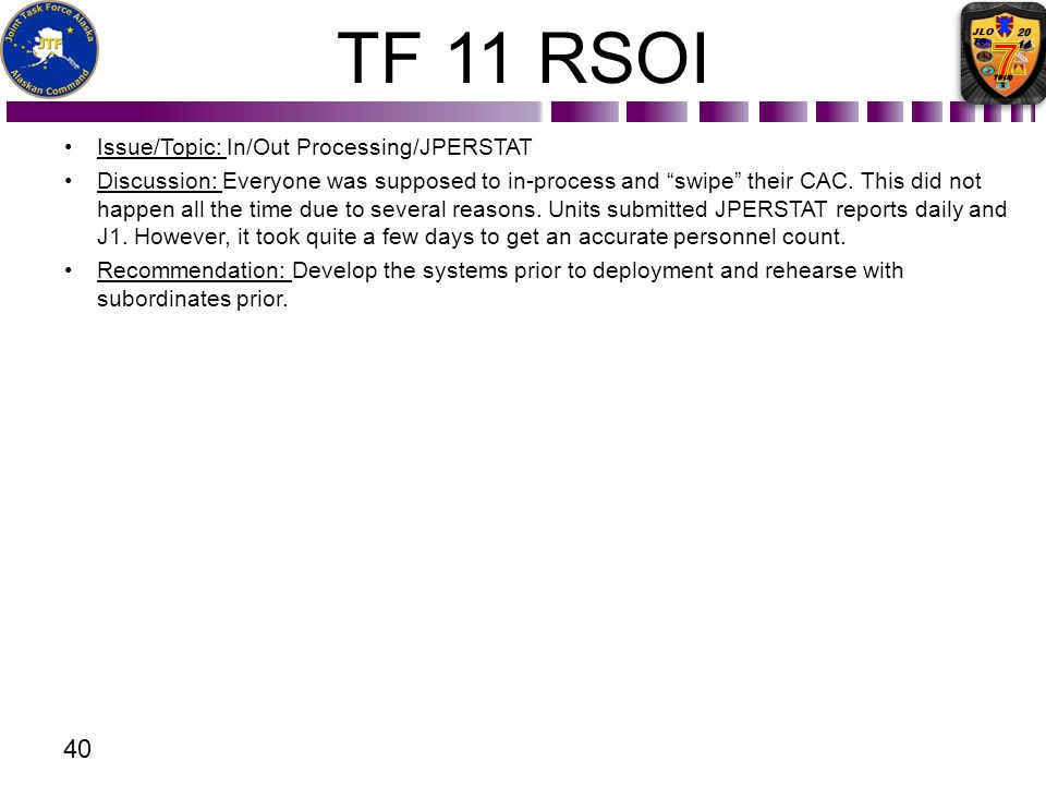 TF 11 RSOI Issue/Topic: In/Out Processing/JPERSTAT