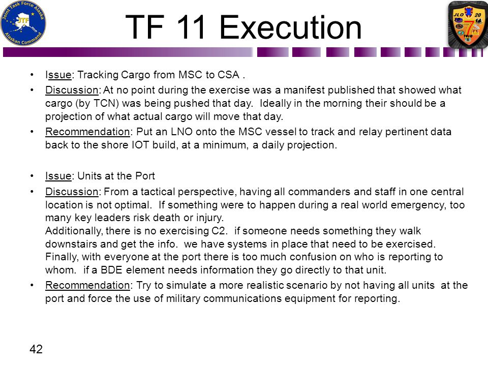 TF 11 Execution Issue: Tracking Cargo from MSC to CSA .
