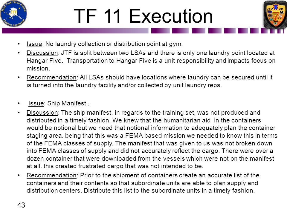 TF 11 Execution Issue: No laundry collection or distribution point at gym.