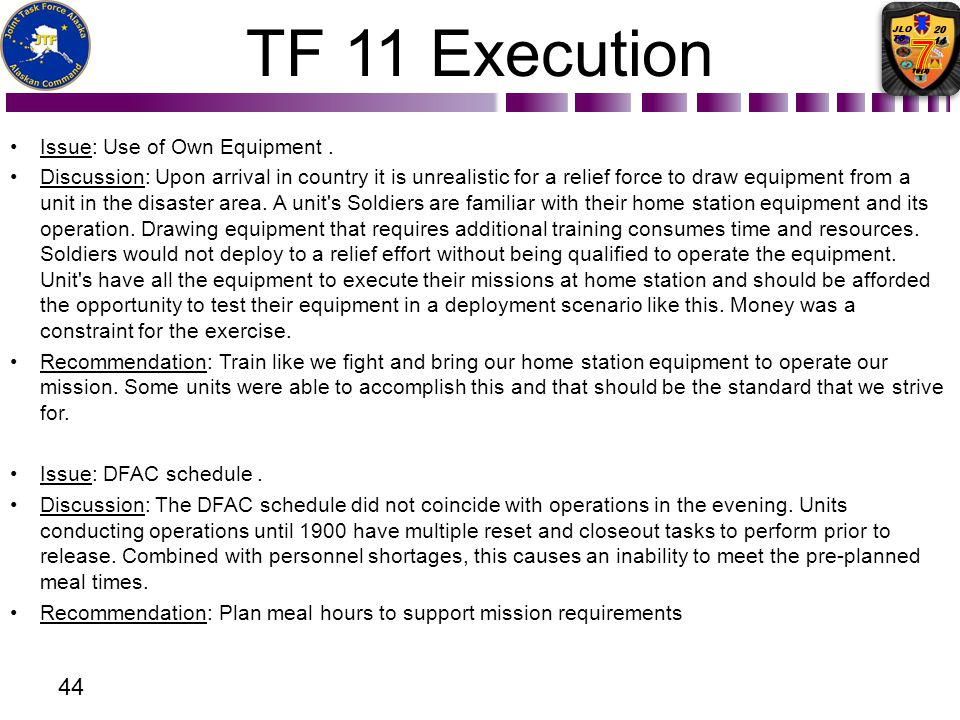 TF 11 Execution Issue: Use of Own Equipment .