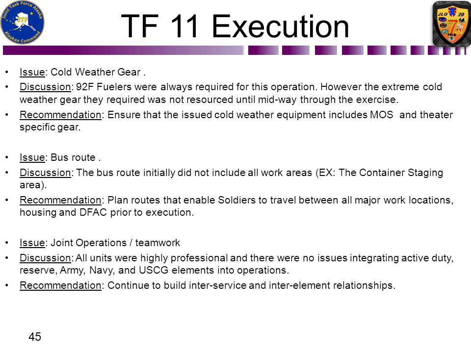 TF 11 Execution Issue: Cold Weather Gear .