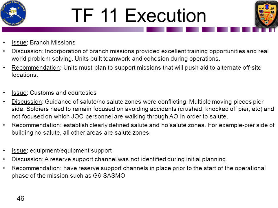 TF 11 Execution Issue: Branch Missions